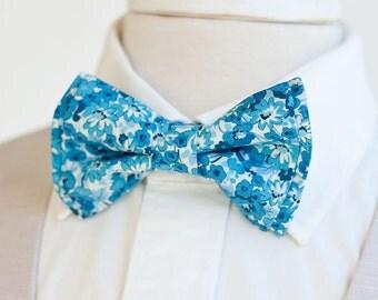 Bow Tie, Mens Bow Tie, Bowtie, Bowties, Bow Ties, Bowties, Floral Bow Tie, Groomsmen Bow Ties, Wedding Bow Ties, Ties - Gardens In Indigo