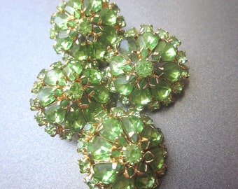 Vintage Green Rhinestone Button Lot Sewing Supply Accessory Shank Coat Buttons