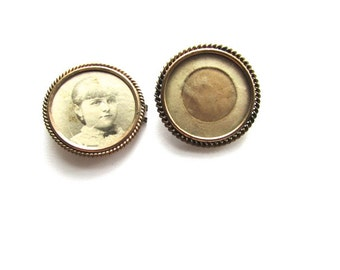 Victorian Memory Photo Pin Lot 2 Edwardian Gold Filled Frames Vintage Antique Jewelry Supply