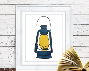 Lantern Camping Illustration Art in Blue - 8x10 Printable