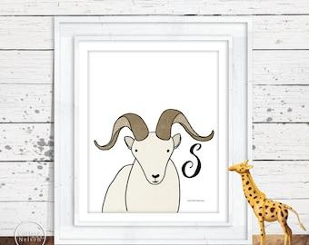 Dall Sheep Illustration Children's Alphabet Printable - Letter S