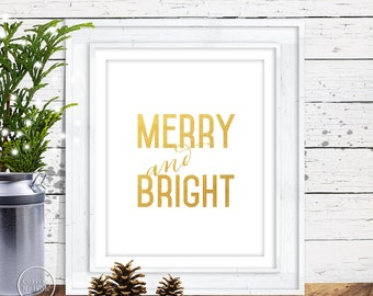 Merry & Bright Gold Christmas Wall Art - 8x10 Printable