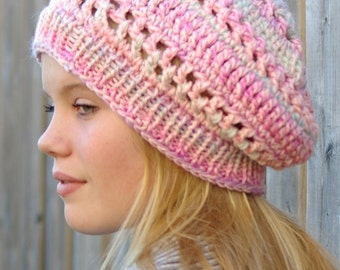Beautiful Pink with Blue, Pink, Lime Green, Lilac, Slouchy Hat, Beanie Hat, Winter Hat, Stocking Stuffer, Winter Wear Crochet/Knit, Handmade