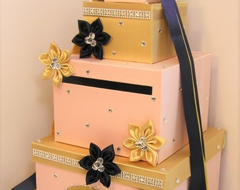 Wedding Card Box Blush Pink,Gold and Navy Blue Gift Card Box Money Box Holder--Customize your color