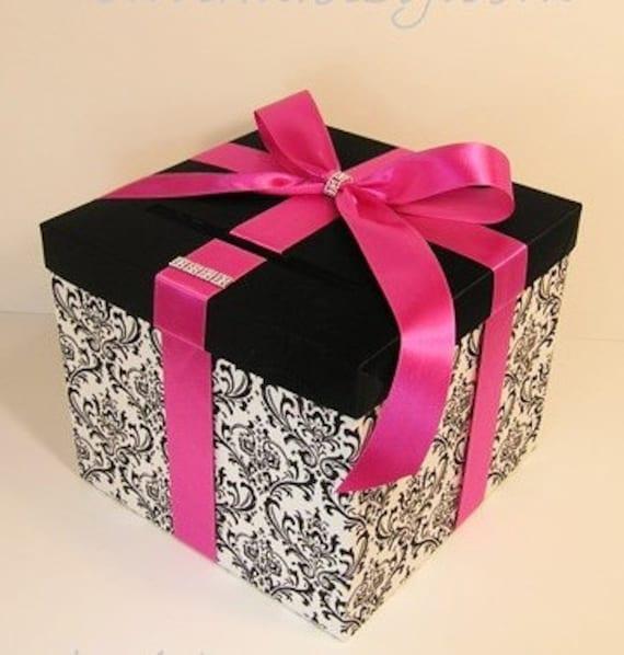 Wedding Card Box Damask and Fuchsia Gift Card Box Money Box  Holder--Customize your color