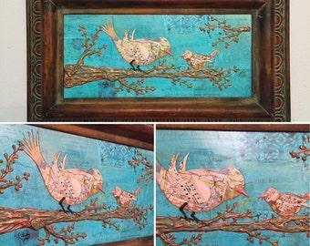 Original Bird Art Mixed Media Birds on a Branch Collage