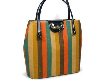 Striped Handbag Burlap Bag Woman's Canvas Purse Vintage Striped Tote Bag