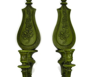 Candle Sconce Vintage 1960's Avocado Green Syroco Candle Holders Wall Vintage Candle Decor