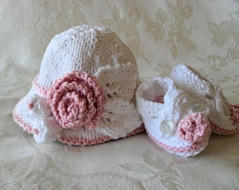 Hand Knitted Baby HAT and Matching BOOTIES Set Brimmed Baby Hat Cotton knitted baby hat Newborn Knitted Baby Hat Knitting Easter Baby Hat