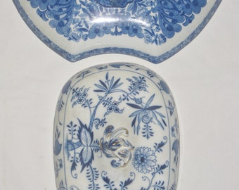 Two Blue and White Replacement Tureen Lid Antique Transferware, Wall Decor, Cottage Farmhouse Kitchen Decor