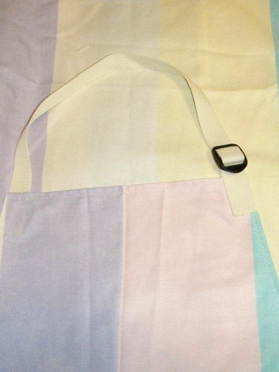 Pottery apron split leg panel pastel stripes pink purple