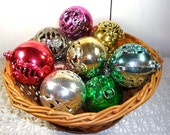 Vintage 1960's Christmas Ornaments, Plastic, Set of 11, Angels, Snowman, Candle, Deer, Red, Gold, Silver, Green, Pink, Blue, Retro  (856-15)