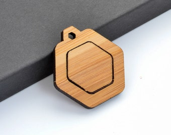 "1"" Embroidery Hoop Hexagon Pendants Honeycomb 25mm Laser Cut from Bamboo Wood EHPHC-25-AB"