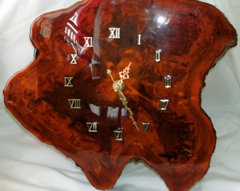 Wall clock wooden slice resin coated vintage working