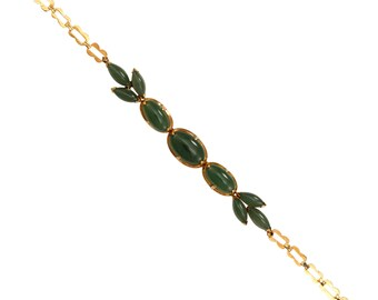 Vintage 14k Caribe Genuine Jade Bracele