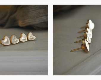 5 Gold Heart Push Pins