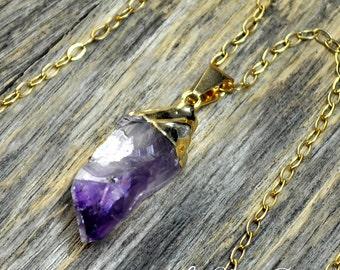 Raw Amethyst Necklace, Amethyst Pendant, Amethyst Crystal, Gold Amethyst, Amethyst Necklace, Amethyst Jewelry, Amethyst, 14k Gold Fill Chain