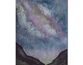 Starry Night Sky ACEO Original Watercolor Painting, Miniature Painting, Miniature Art, Stars, Space, Galaxy, Milky Way