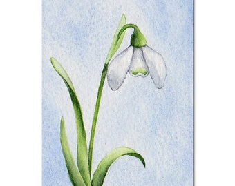 Original ACEO Watercolor Painting, White Snowdrop Flower Miniature Art, Floral Art, Spring, Art Card, Collectables