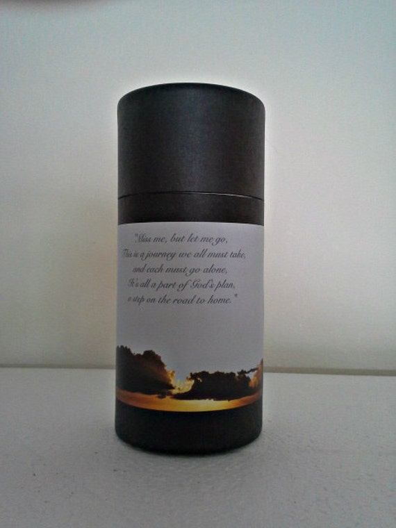 "Black Eco-Friendly Cremation Urn Scattering Tube w/Telescopic Lid - Biodegradable - Style ""Heavenly"""