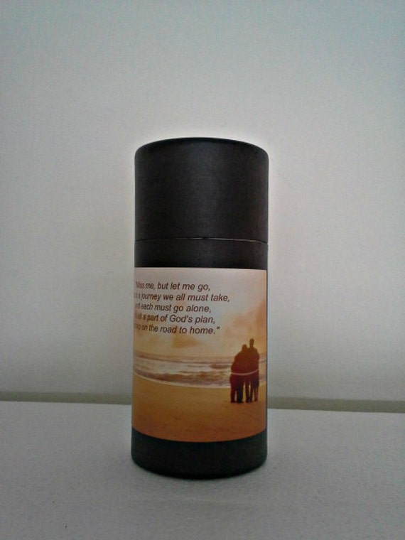 """Black Eco-Friendly Cremation Urn Scattering Tube w/Telescopic Lid - Biodegradable - Style """"Serenity"""""""