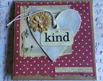 Be Kind Themed Canvas Heart Handmade Card