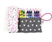 Crayon Roll - Girl Mini Fox - 24 crayons, stocking stuffer, kids art supplies, fox party, easter basket