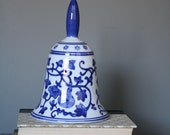 Blue and White Floral Design - Ceramic Bell