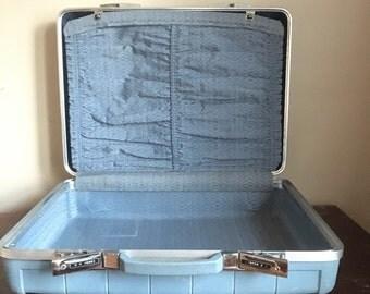Blue Vintage Starflyte Suitcase / Luggage.