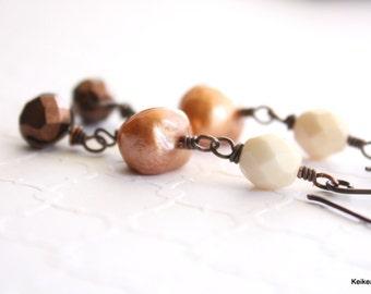 Pearl Earrings, Freshwater Pearl Earrings, Wire Wrapped, Long Bead Earrings