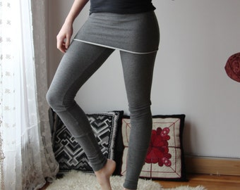 womens skirted leggings in cotton french terry - WAFFY loungerie and loungewear range - made to order