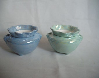 Set of 2 /Ceramic African Violet Pot/ Planter/ Extra Small No. 3B / Mother of Pearl