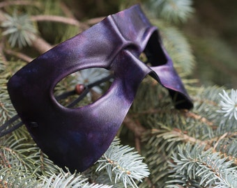 Frowning Purple Leather Masquerade Mask