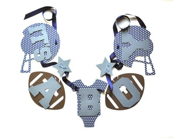 NEW Larger Size Football baby shower decorations navy blue and grey it's a boy banner by ParkersPrints on Etsy