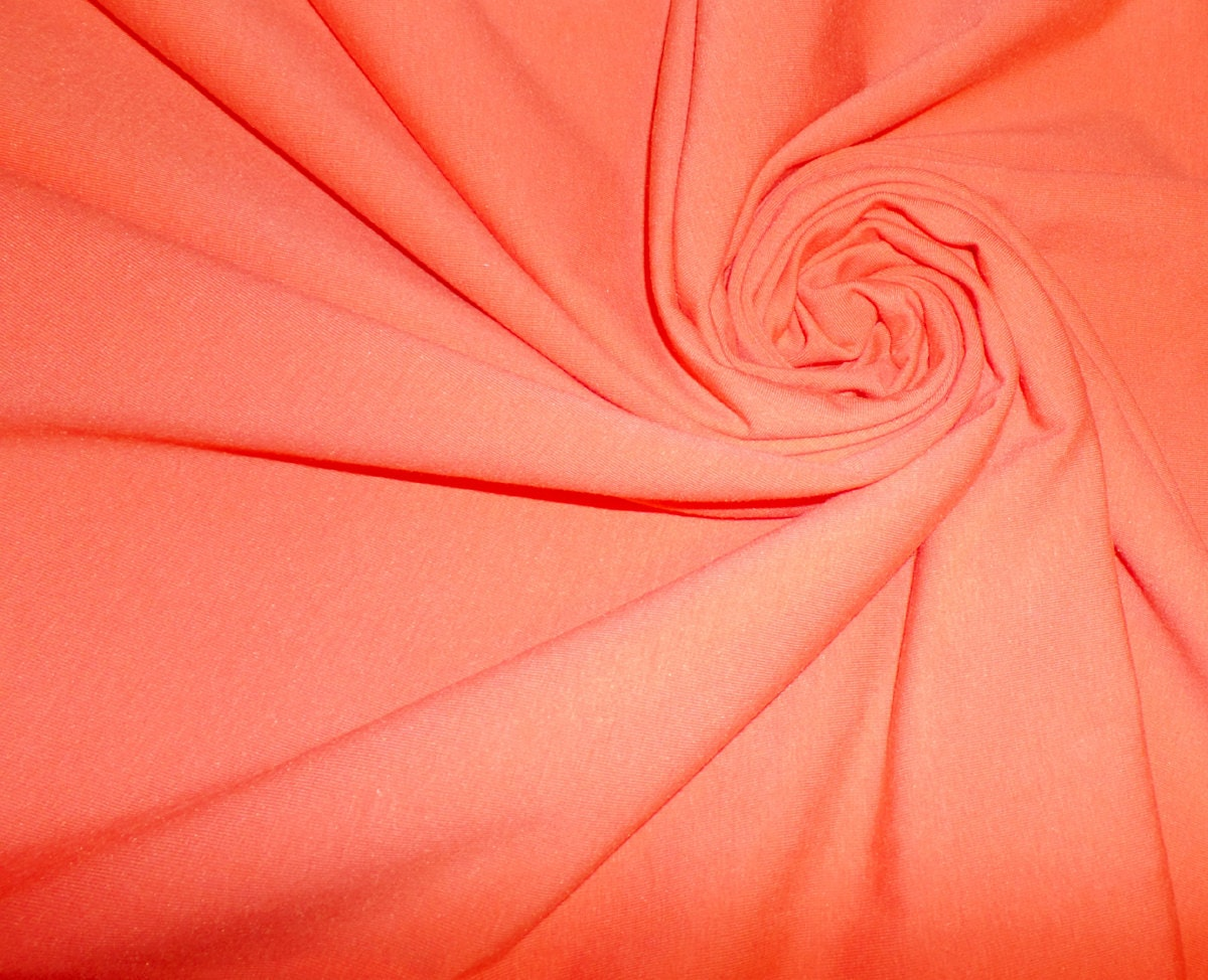 Solid cotton lycra spandex fabric coral pink cotton lycra for Lycra fabric