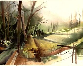 Watercolor - Original watercolour - Ramat Menashe