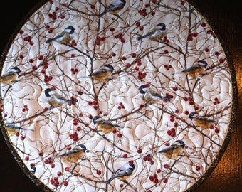 MarveLes CHICKADEE Quilted Round Placemat Christmas Cream Golden Yellow Brown Metallic