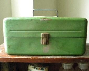 SALE! Vintage Green Metal Tackle Box