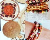 Natural Bracelet Stack Boho Hippie Bone Shell Horn Turquoise Coconut Shell Tribal Style 5 Pieces