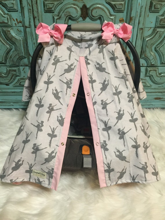 Car seat canopy Flannel Ballerina grey and pink / car seat cover / nursing cover / carseat canopy / carseat cover / ballet