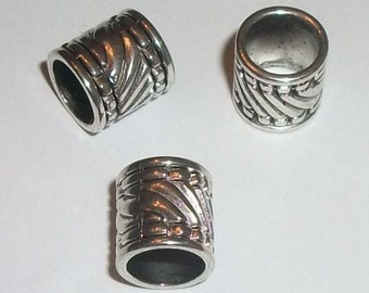 Antique silver pewter 11x10mm tube column cylinder large hole spacer beads -- 30 pieces  (10275)