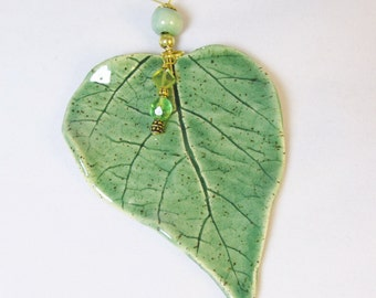Pottery Beaded Leaf Ornament, Real Leaf Ornament, Botanical Leaf, Hanging Leaf Ornament, Ceramic leaf ornament
