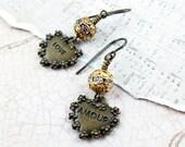 Valentine Earrings, Heart Earrings, Love Amour, Heart Charms, Rhinestone Earrings, Whimsical Jewelry