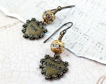 Valentine Earrings Heart Dangle Earrings Rustic Hearts Vintage Style Rhinestone Earrings Whimsical Jewelry