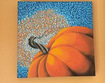 Original Dotty Pumpkin Acrylic Painting on Canvas