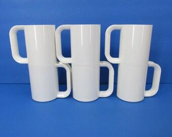 Vintage Heller Massimo Vignelli White Set of 6 MaxMugs Mid Century Melamine Mugs