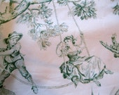 Fabric, Toile, Spectrum, Green Scenic Country Scenes, Supplies, Curtain Fabric, by mailordervintage on etsy