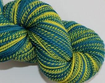 SALE ! 33% Off ! Handspun Yarn, 18 micron Merino Wool, Sport weight, 350 yards, Color Yellow, Steel Blue and Emerald