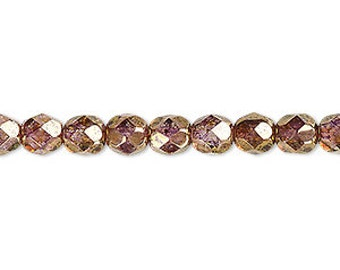 """6mm translucent copper luster  faceted round Czech fire polished glass beads, 8"""" strand  (33 beads). Prom, wedding, bridesmaids, Autumn"""