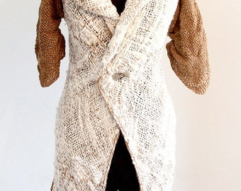 Alpaca rustic brown and cream coat ready to ship